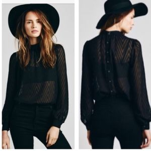 Free People Sheer Black Tucking Chevron Blouse Top